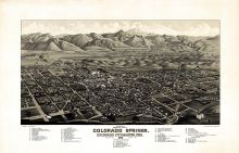 Colorado Springs 1882c Bird's Eye View 17x26, Colorado Springs 1882c Bird's Eye View
